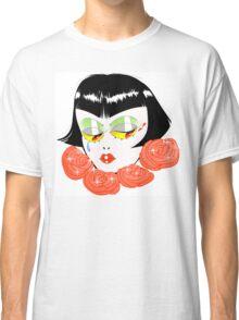 Bobbed Girlhead w Roses Classic T-Shirt