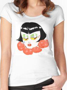 Bobbed Girlhead w Roses Women's Fitted Scoop T-Shirt
