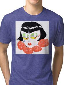 Bobbed Girlhead w Roses Tri-blend T-Shirt