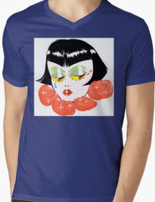 Bobbed Girlhead w Roses Mens V-Neck T-Shirt