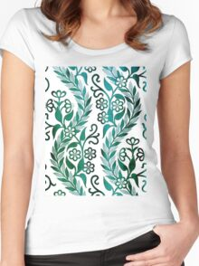 Vintage Floral Embroidery Women's Fitted Scoop T-Shirt