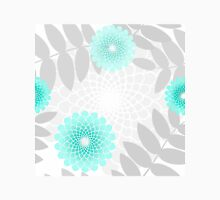Garden flowers and Leaves pattern, spiral floral turquoise aqua Womens Fitted T-Shirt