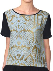 Blue and Gold Snakeskin  Chiffon Top