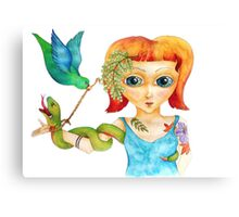 The Green Snake, Blue Bird & Lady Luck Canvas Print
