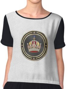 Imperial Crown of Austria over White Leather Chiffon Top