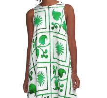 Retro Green and White Embroidery A-Line Dress