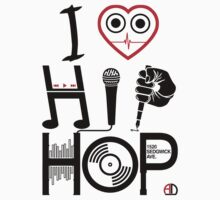I Love Hip Hop - Music DJ Design - Dark Text Kids Tee