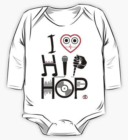 I Love Hip Hop - Music DJ Design - Dark Text One Piece - Long Sleeve