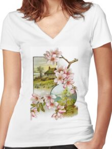 Victorian Pink Floral Women's Fitted V-Neck T-Shirt