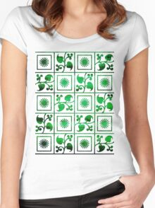 Retro Green and White Embroidery Women's Fitted Scoop T-Shirt