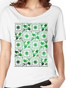 Retro Green and White Embroidery Women's Relaxed Fit T-Shirt