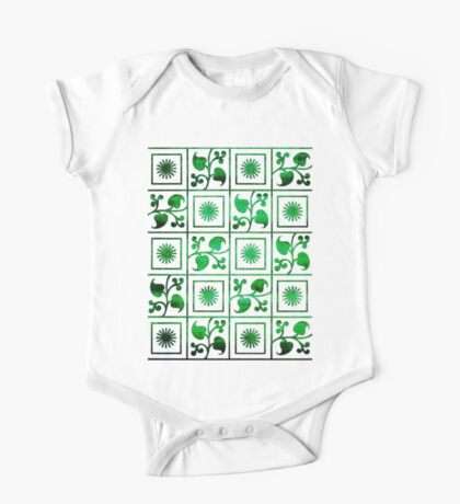 Retro Green and White Embroidery One Piece - Short Sleeve