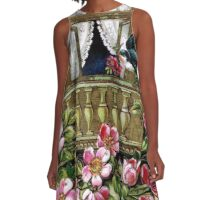 Vintage Birds and Flowers A-Line Dress