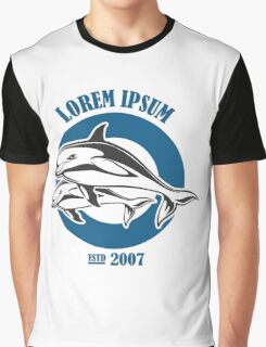 two Dolphin Emblem   Graphic T-Shirt