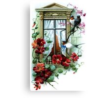 Vintage Birds and Flowers II Canvas Print