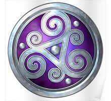 Purple Celtic Double Triskelion Poster