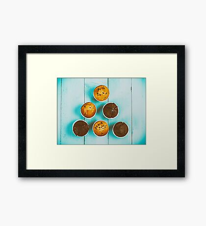 Homemade Chocolate Chip Muffins On Blue Table Framed Print