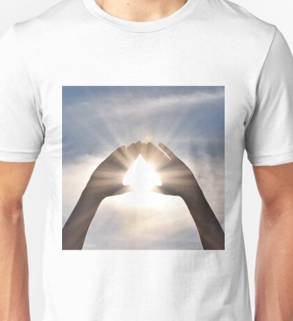 Light shining through hands Unisex T-Shirt
