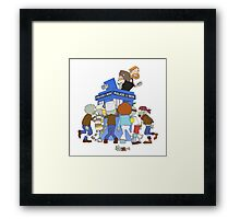 Zombie chasing the Doctor Framed Print