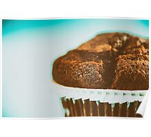Homemade Chocolate Chip Muffin On Blue Table Poster