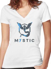 Pokemon GO: Team Mystic Design (Team Blue) Women's Fitted V-Neck T-Shirt
