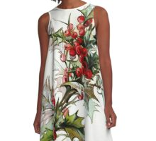 Vintage Holly Berries A-Line Dress