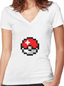 8bit Pokeball Women's Fitted V-Neck T-Shirt