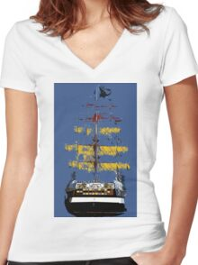 The ship Jose Gasparilla Women's Fitted V-Neck T-Shirt