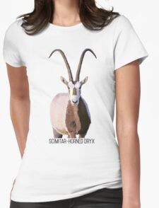 Scimitar-Horned Oryx Womens Fitted T-Shirt
