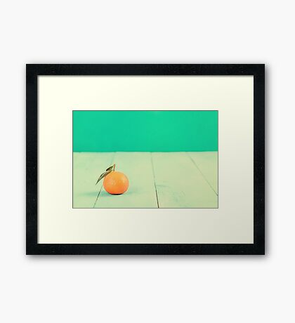 Fresh Tangerine On Blue Table Framed Print