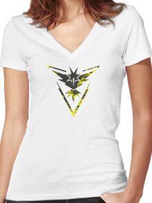 Pokemon GO: Team Instinct Design II (Team Yellow) Women's Fitted V-Neck T-Shirt