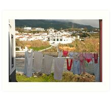 Laundry day in Azores Art Print