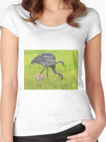 Sandhill crane parents with chick Women's Fitted Scoop T-Shirt