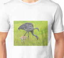 Sandhill crane parents with chick Unisex T-Shirt