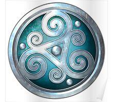 Teal Celtic Double Triskelion Poster