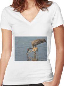 Feeding Sandhill Cranes Women's Fitted V-Neck T-Shirt