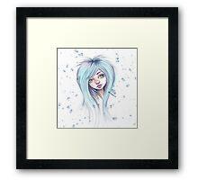 Blue Hair Nugoth Girl - Icicle Framed Print