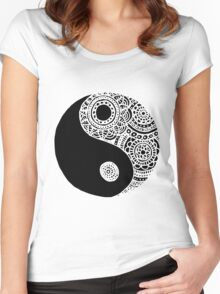 Black and White Lace Yin Yang Women's Fitted Scoop T-Shirt