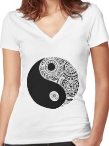 Black and White Lace Yin Yang Women's Fitted V-Neck T-Shirt