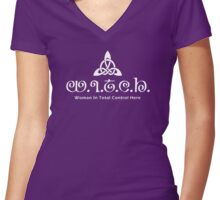 Witch In Total Control Here White Ink Women's Fitted V-Neck T-Shirt
