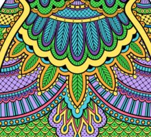 Decorated ornate owl with patterns and ornaments Sticker