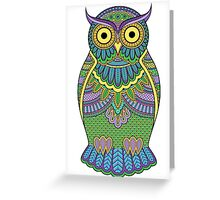 Decorated ornate owl with patterns and ornaments Greeting Card