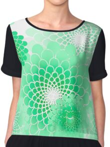 Spiral floral, mint green geometric floral pattern Chiffon Top