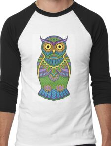 Decorated ornate owl with patterns and ornaments Men's Baseball ¾ T-Shirt