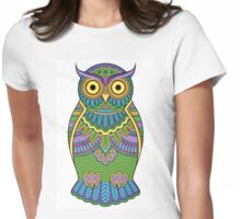Decorated ornate owl with patterns and ornaments Womens Fitted T-Shirt