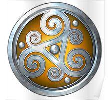 Yellow Celtic Double Triskelion Poster