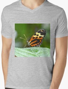 Orange and Yellow Butterfly Mens V-Neck T-Shirt