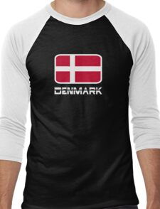 Denmark Flag Men's Baseball ¾ T-Shirt