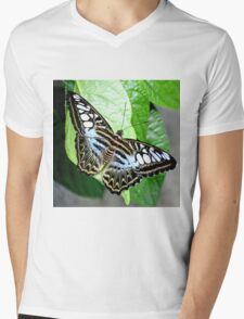 Blue Tiger Butterfly Mens V-Neck T-Shirt