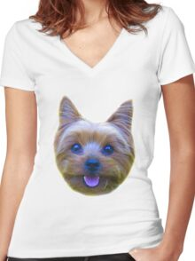 Mr. Pickles Dog Puppy Yorkie Women's Fitted V-Neck T-Shirt